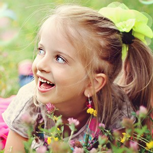 Smiling child outdoors