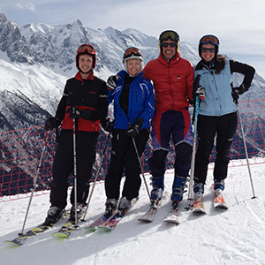 Dr. Moughan and her family skiing